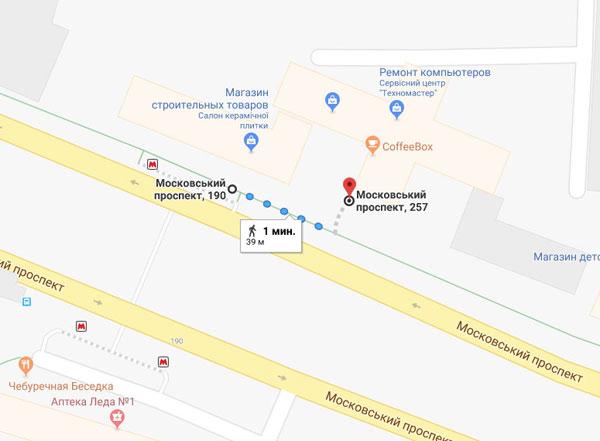 Схема прохода от метро Палац спорту
